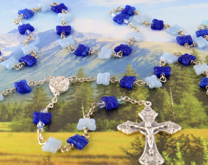 Blue Butterfly Rosary - Czech Royal & Light Blue Crystal Butterfly Beads - Mary Center with Earth from Jerusalem - Italian Grapes Crucifix
