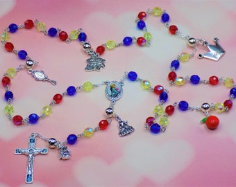 Snow White Rosary - Czech Blue, Yellow AB and Red AB Glass Beads - Snow White Charms - Italian Mary & Child Color - Italian Rose Crucifix