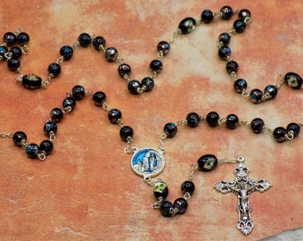 Black Confetti Rosary - Black Glass with Aqua, Copper and Silver Beads - Black Lampglass Father Beads - Lourdes Center -  Filigree Crucifix