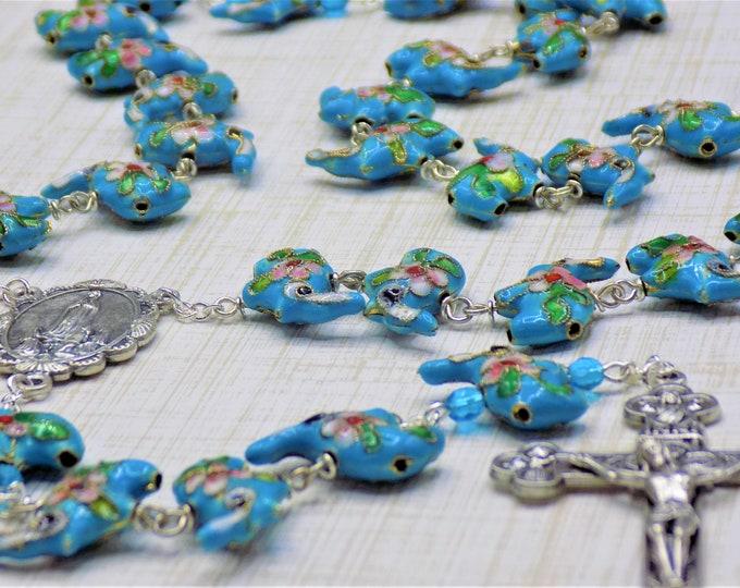 Turquoise Cloisonné Elephant Rosary - Turquoise Cloisonné Elephant Beads - Italian Our Lady of Fatima Center - Italian Eucharistic Crucifix