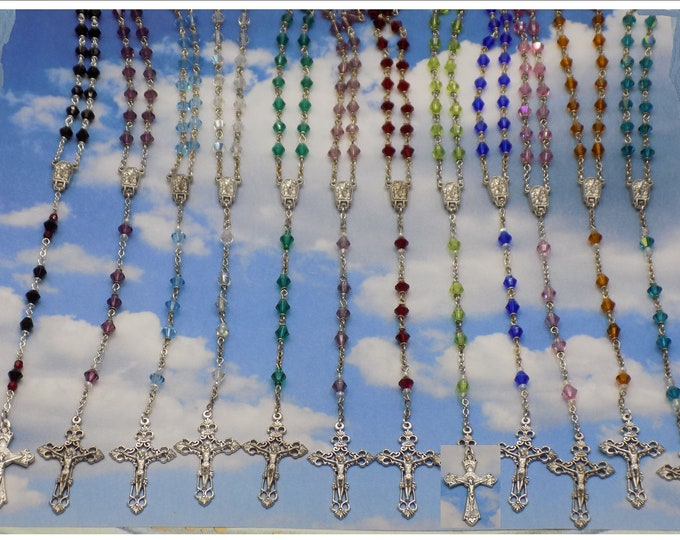 Birthstone Rosaries - January Through December -Czech Crystal 6mm Beads -Italian Lourdes Water Centers -Italian Filigree & Grapes Crucifixes