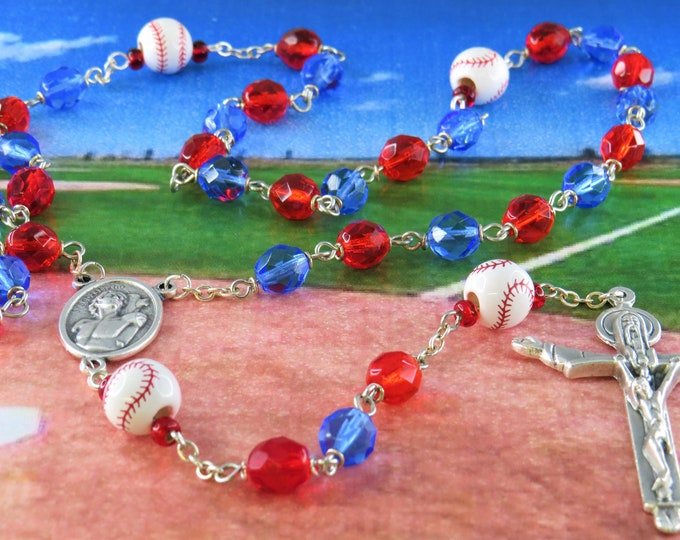 Baseball Rosary - Czech 8mm Blue and Red Crystal Beads - Peru Ceramic Baseballs - Italian St Sebastian Center -Italian Holy Trinity Crucifix