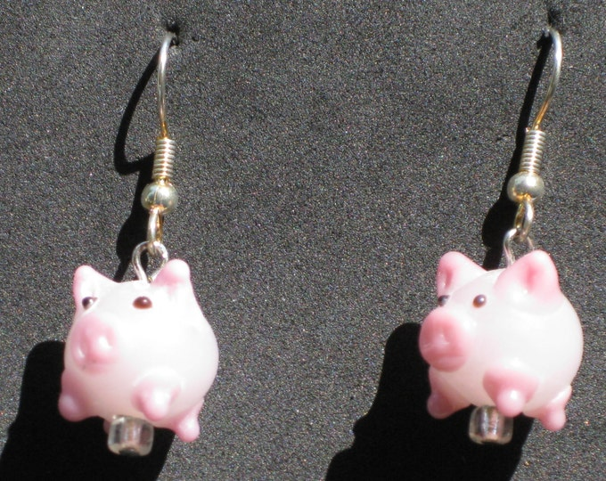 "Pig Earrings - Pink Glass Pigs - Pink Pigs - Flying Pigs - ""Glow in the Dark"" Black Stripe Pigs - 4 Different Styles to Choose From"