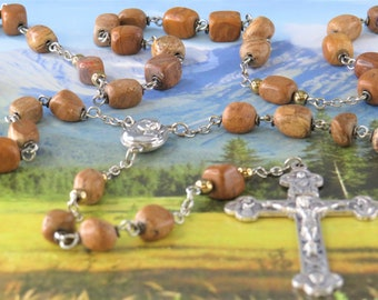Tiger Jasper Rosary - Tiger Jasper Nugget Beads - Mary & Child Center Contains Earth from Jerusalem - Italian Eucharistic Crucifix