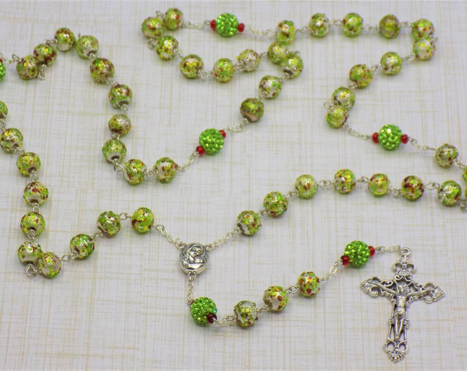 Textured lampwork Glass Rosary - Textured lampwork Glass Beads - Crystal Pave Beads -Mary and Child Earth Center - Italian Filigree Crucifix