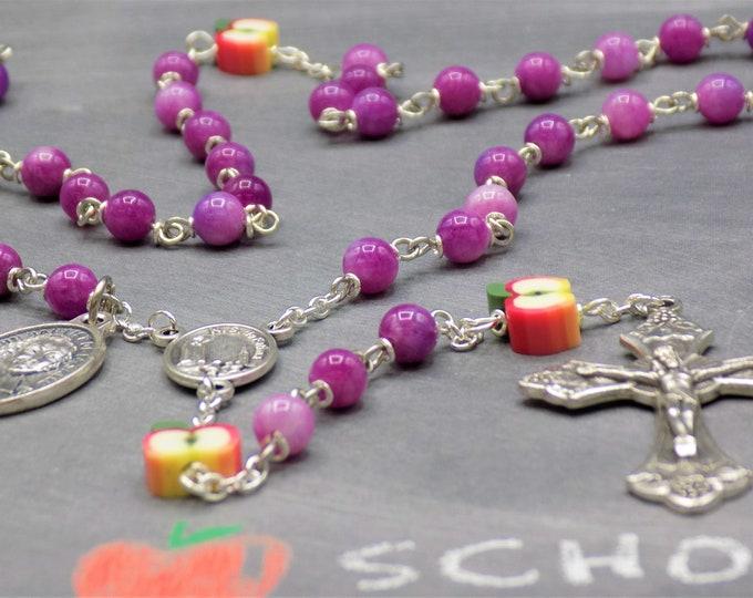 Teacher Rosary - Purple Candy Jade Gemstone Beads - Polymer Apple Beads - Fatima Center -Italian Crucifix -St John Baptist De La Salle Medal
