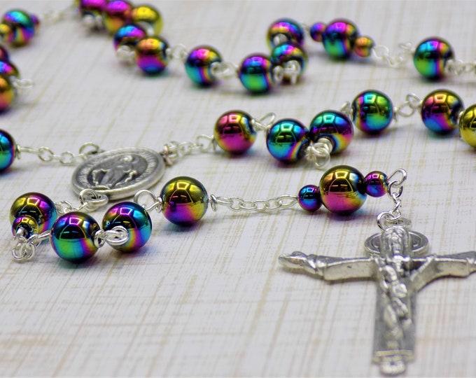 Rainbow Hematite Rosary - Semi Precious Metallic Rainbow Hematite 8mm Beads - Italian Silver Immaculate Mary Center - Holy Trinity Crucifix