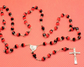 Czech Red and Black Rosary - Czech Half Red & Half Black 8mm Glass Beads - Italian Silver 100th Anniversary of Fatima Center and Crucifix