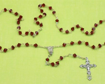 Birthstone Rosaries - July-Ruby, August-Peridot, September-Sapphire - Czech Crystal Beads - Lourdes Water Center - Italian Filigree Crucifix