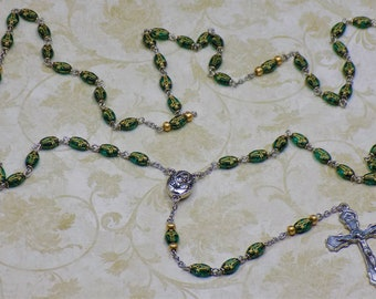 Czech Cross Bead Rosaries - Czech Crystal Cross Green or Red Beads - Mary Center that Contains Soil from Jerusalem - Italian Crucifixes