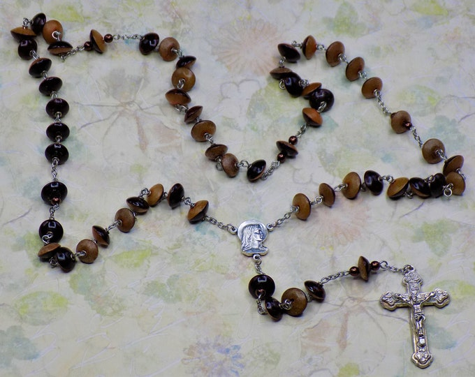 Natural Buri Seed Rosaries - Buri Seed Orange-Brown or Blue-Gray Beads -Italian Our Lady of Fatima Centers -Italian Silver Hearts Crucifixes