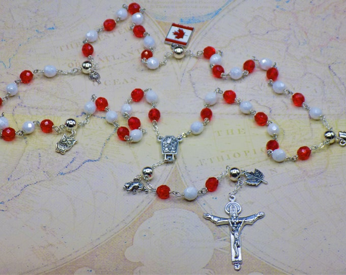 Rosary of Canada - Czech White & Red Glass Beads - Round Pewter Father Beads - Canada Charms-Italian Lourdes Center-Italian Trinity Crucifix