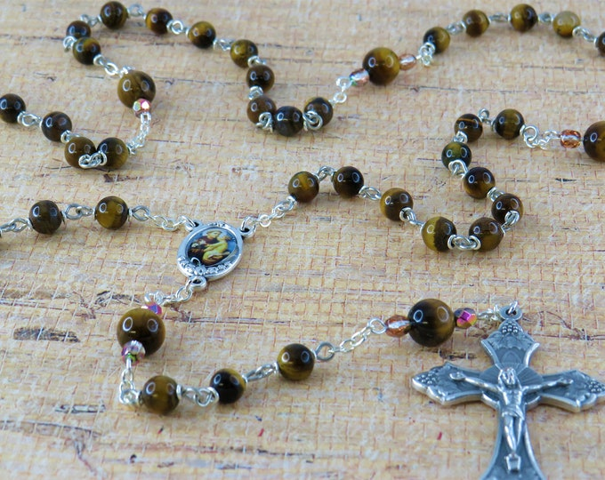 Tiger's Eye Rosary - Semi Precious Tiger's Eye 6 & 8mm Beads - Italian Silver St Anthony Center - Italian Silver Grapes and Vine Crucifix