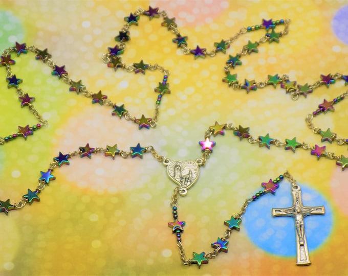 Rainbow Star Hematite Rosary - Semi Precious Rainbow Hematite Star Beads - Center & Crucifix Celebrates 100th Anniversary of Our Lady Fatima