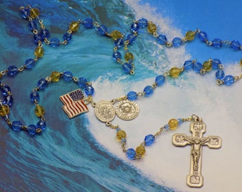 US Coast Guard Military Rosary -Czech Blue and Gold Crystal Beads-St Michael Center-St Christopher & US Coast Guard Charm-Stations Crucifix