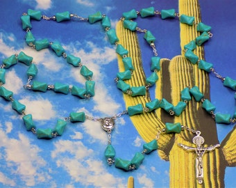Turquoise Rosary - S/P Turquoise Beads - Silver Accent Beads - Mary & Child Center with Soil from Jerusalem - Italian Holy Trinity Crucifix
