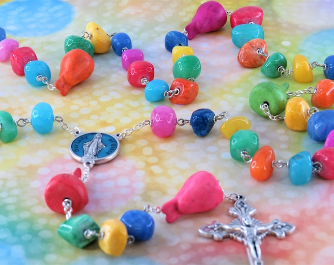 Bunny Rosary - Multi Color Gemstone Beads - Bunny Gemstone Father Beads - Italian Our Lady of Grace Center - Italian Sunburst Crucifix