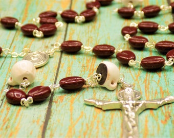 Coffee Bean Rosary - Czech Coffee Bean Glass Beads - Ceramic Coffee Cup Beads -  Our Lady of Medugorje Center & Soil - Holy Trinity Crucifix