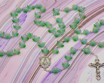 Glass Flower Rosary - Lampwork Glass light Green with Purple Flowers & Green Leafs Beads - Italian Fatima Center - Italian Filigree Crucifix