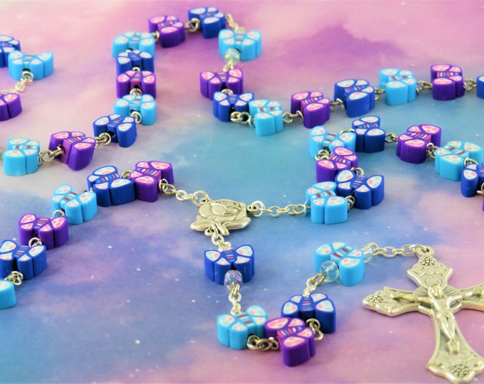 Blue and Purple Butterfly Rosary - Colorful Blue and Purple Butterfly Polymer Beads - Italian Rose Center - Italian Grapes & Vine Crucifix
