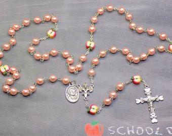 Teacher Rosaries - Pink Pearls or Fuchsia Glass Beads - Apple Beads - Italian Centers - Italian Crucifixes - St John Baptist DL Salle Medals