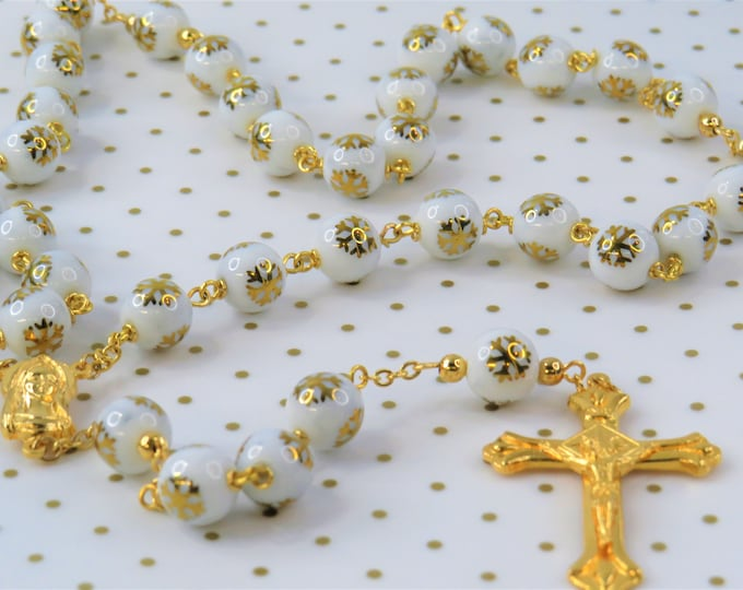 Gold Snowflake Rosary - White Frosted Glass with Gold Snowflake Beads - Italian Gold Mary Center - Italian Gold Sunburst Flare Crucifix