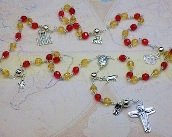 Rosary of Spain - Czech Yellow & Red Glass Beads - Round Pewter Father Beads - Spanish Charms - Mary with Soil Center - Italian Crucifix