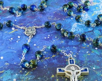 Tibetan dZi Royal Blue Rosary - Royal Blue Tibetan dZi Style Glass 8mm Beads - Italian Rose & Mary Center -St Benedict Blue Enamel Crucifix