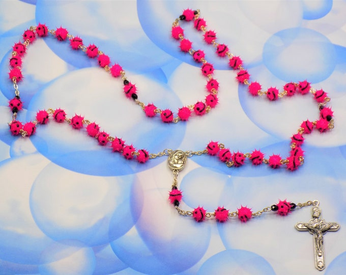 """Pink Emoticon """"Smiley Face"""" Rosary - Pink Soft Rubber Emoticon Beads - Mary & Child Center with Jerusalem Earth - Italian Angels Crucifix"""