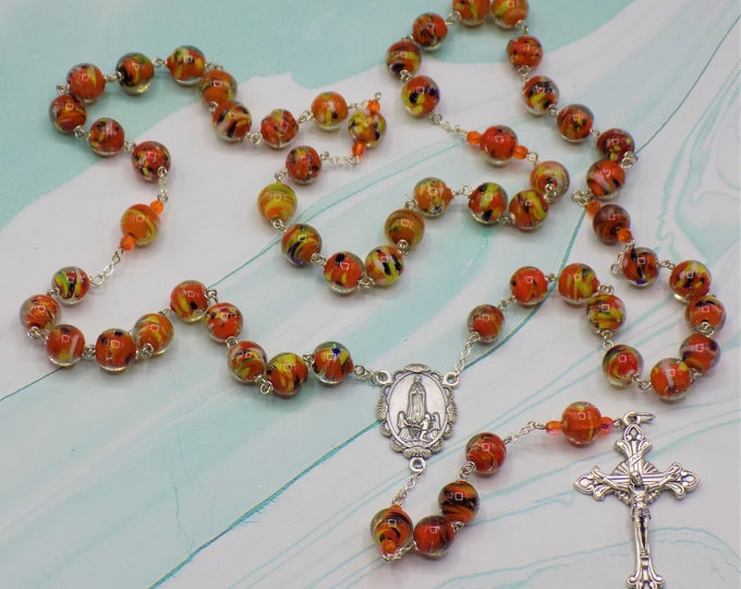 Lampwork Orange Rosary - Handmade Orange Lampwork Beads - Czech Beads - Italian Silver Our Lady of Fatima Center - Italian Flare Crucifix