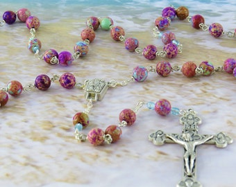 Icy Blue and Purple Sea Jasper Rosary -Icy Blue & Purple Sea Sediment Imperial Jasper Beads -Lourdes with Water Center -Eucharistic Crucifix