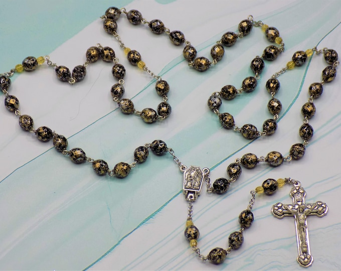 Gold Confetti Rosary - Czech Gold Glass Beads with Black and Silver Confetti Decoration -  Lourdes, France Center - Italian Hearts Crucifix