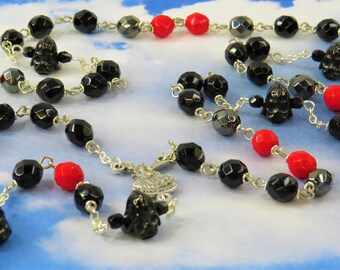 Star Wars Rosary - Czech Black, Gray and Red 8mm Crystal Beads - 3D Darth Vader Father Beads - St Michael Center -St Benedict Black Crucifix