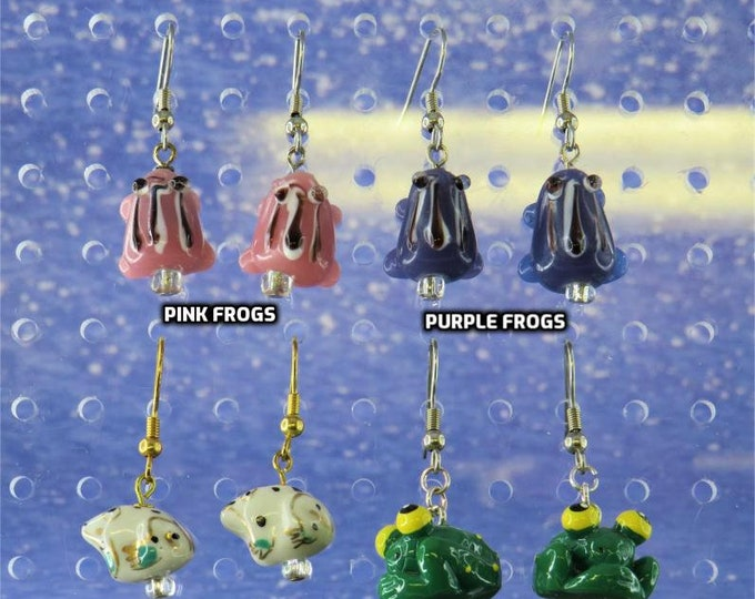 Frog Earrings - Pink Frogs - Purple Frogs - White & Gold Frogs - Big Eyed Frogs - 4 Different to Choose From