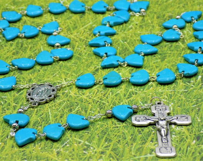 Bear Rosary - Turquoise Bear Beads - Silver Metal Beads - Italian Our Lady of Lourdes Center - Italian Silver Stations of the Cross Crucifix