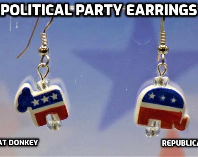 Political Party Earrings - Democrat Donkey Ceramic Charm Earrings - Republican Elephant Ceramic Charm Earrings