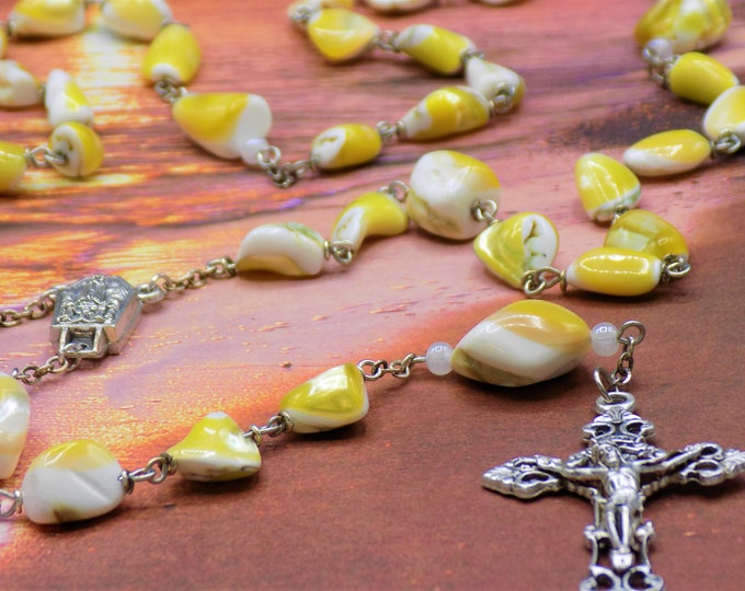 Mother of Pearl Rosary - Natural Mother of Pearl Yellow & White Nugget Beads - Czech Beads -  Fatima Center with Water - Filigree Crucifix