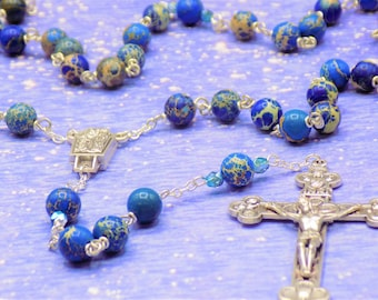 Blue Sea Jasper Rosary - Apatite Blue Sea Sediment Imperial Jasper Gemstone Beads - Lady of Lourdes with Water Center -Eucharistic Crucifix