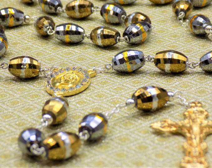 Gold and Silver Glass Rosary - Gold & Silver Glass Beads - Gold Holy Face Shroud of Turin with Rhinestones Center  - Gold Filigree Crucifix
