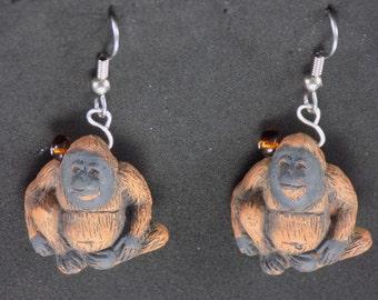 Orangutan, Monkey and Gorilla Earrings - Orangutan - See, Hear & Speak No Evil Monkeys - Gorillas - 3 Different to Choose From