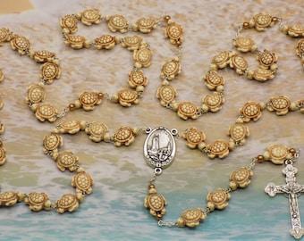 Stone Turtle Rosary - White Stone Turtle Beads - Gold Pearls - Italian Silver Our Lady of Fatima Center -Italian Silver Eucharistic Crucifix