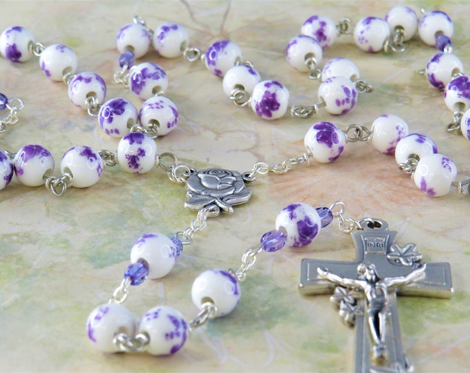 White & Purple Flower Rosary - White and Purple Flower Ceramic Beads - Italian Silver Rose and Mary Center - Italian Silver Flower Crucifix
