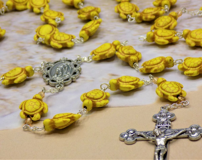 Yellow Turtle Rosary - Yellow Stone Turtle Beads - Czech Amber Accent Beads - Italian Silver Lourdes Center - Italian Eucharistic Crucifix