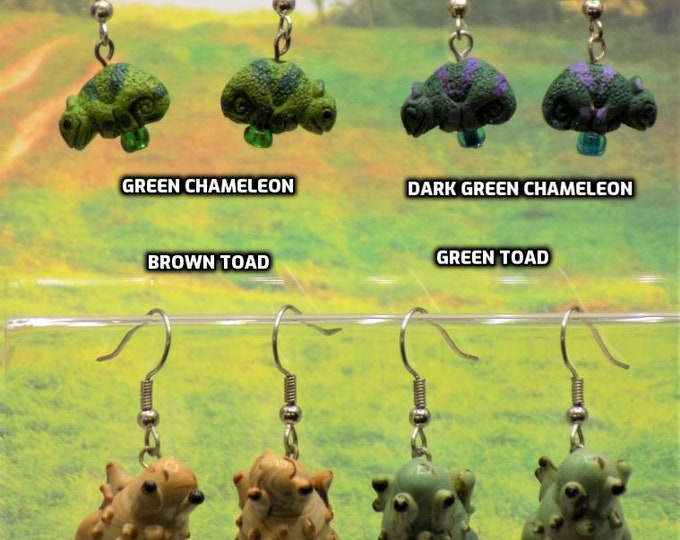 Chameleon and Toad 3D Earrings - Blue or Green Chameleons - Brown or Green Toads