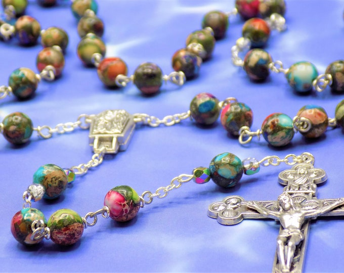 Multi Color Sea Jasper Rosary - Multi Color Sea Sediment Imperial Jasper Gemstone Beads - Lourdes with Water Center - Eucharistic Crucifix