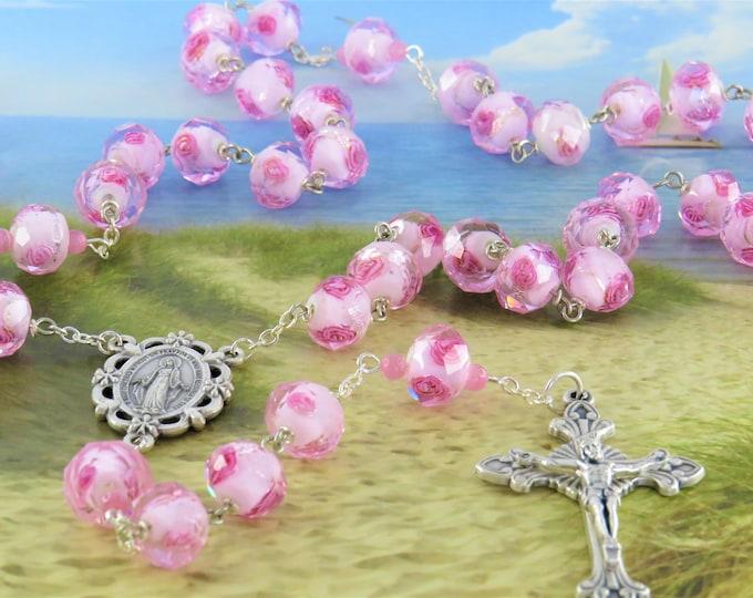 Pink Rose Flower Lamp Glass Rosary - Faceted Pink Rose Flower Lamp Glass Beads - Italian Miraculous Flower Center -Italian Sunburst Crucifix