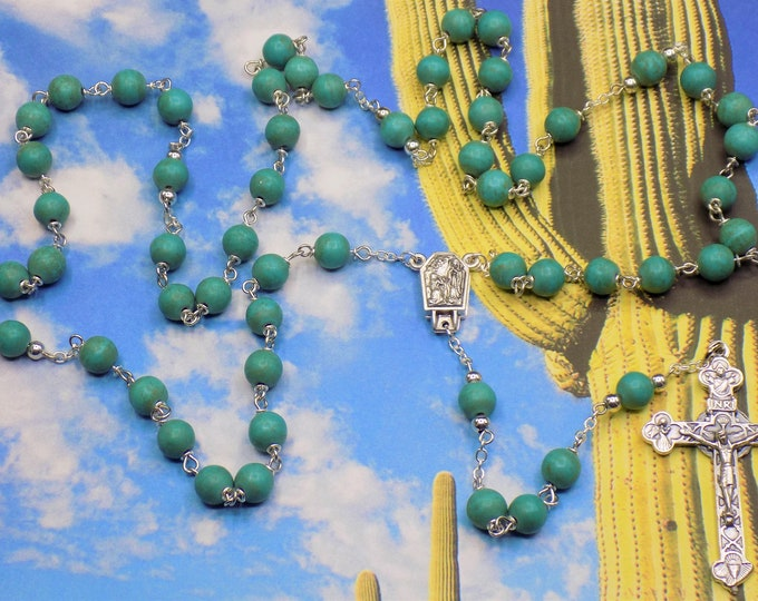 Turquoise Stone Rosaries - Teal Green & Teal Blue Magnesite Gemstone Beads - Our Lady of Lourdes/Fatima Centers - Italian Silver Crucifixes