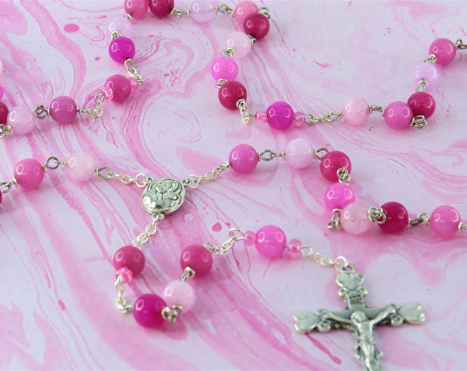 Pink Jade Rosary - Semi Precious Pink Jade Beads - Czech Accent Beads - Mary & Child Center with Jerusalem Earth -Italian Heart Tip Crucifix