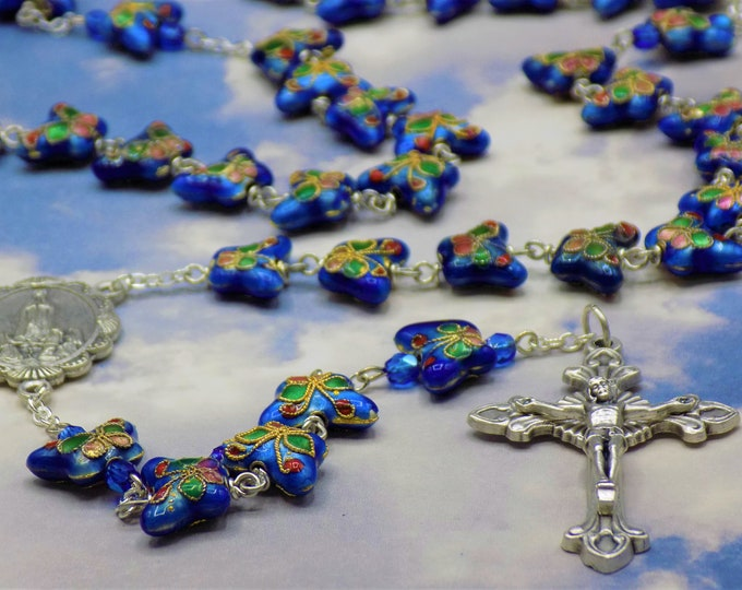 Blue Cloisonné Butterfly Rosary - Medium Blue Cloisonné Butterfly Metal Beads - Italian OL of Fatima Center -Italian Sunburst Flare Crucifix