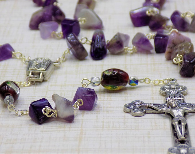 Amethyst Rosary - Semi Precious Amethyst Beads - Lampglass Purple Beads - Italian Our Lady of Lourdes Center - Italian Eucharistic Crucifix